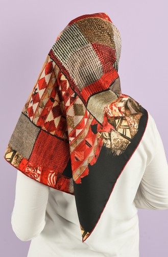 Patterned Twill Scarf 8557-05 Red Black 8557-05