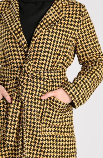 Houndstooth Patterned Coat 5338-05 Black Mustard 5338-05