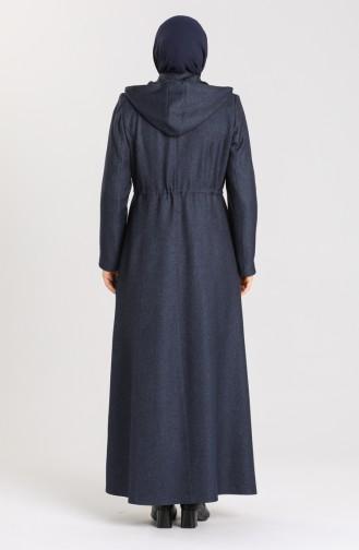 Plus Size waist Shirred Zipper Coat 1018-04 Navy Blue 1018-04