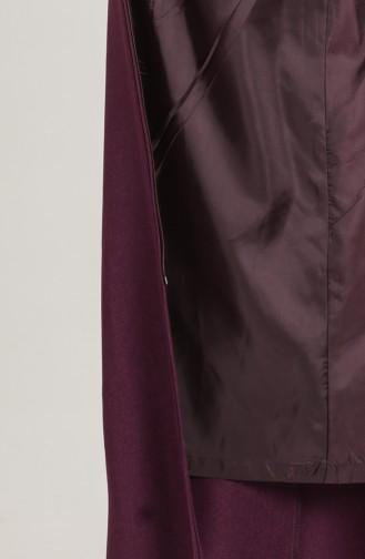 Plus Size waist Shirred Zipper Coat 1018-05 Damson 1018-05