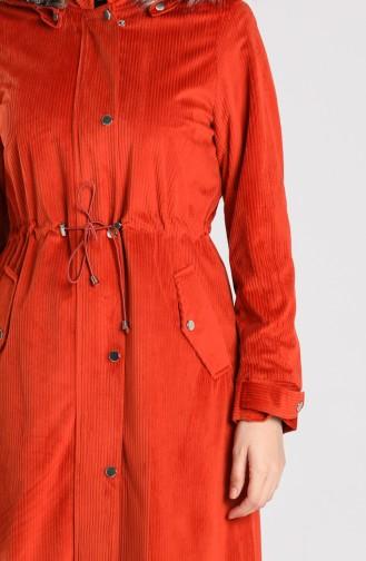 معطف طويل قرميدي 5126-01