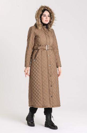 Fur quilted Long Coat 5042-07 Mink 5042-07