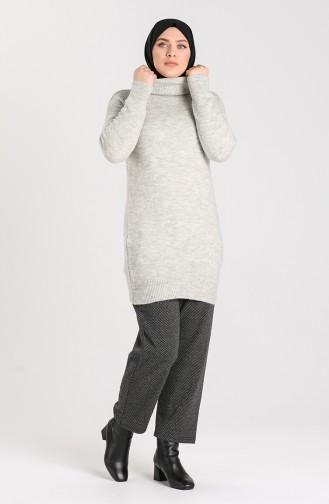 Büyük Beden Kışlık Kaşe Pantolon 8151-01 Füme