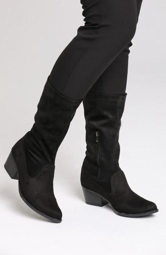 Bayan Topuklu Çizme 0524-01 Siyah Süet