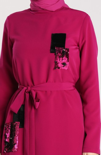 Sequined Tunic Trousers Double Suit 15003-05 Fuchsia 15003-05