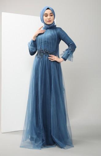 Lace Evening Dress 4825-02 Indigo 4825-02