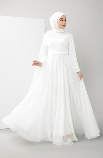 Feathered Evening Dress 4836-04 Ecru 4836-04