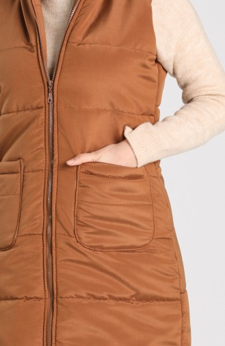 Zipper quilted Vest 1053d-03 Tobacco 1053D-03