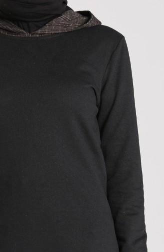 Ekose Garnili Kapüşonlu Sweatshirt 3231-04 Siyah