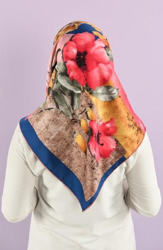 Çiçek Desenli Rayon Eşarp 7685-01 Gül Kurusu Lacivert
