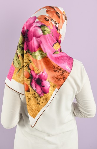 Floral Pattern Rayon Scarf 7685-02 Emerald Green Brown 7685-02