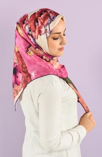 Floral Pattern Rayon Scarf 7685-10 Purple Khaki 7685-10