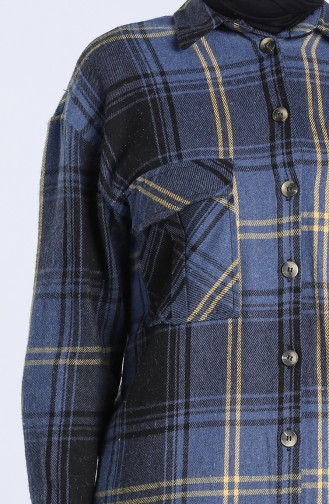 Plaid Pattern Long Tunic 5579-07 Navy Blue 5579-07