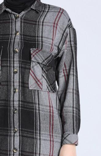 Plaid Pattern Long Tunic 5579-08 Smoked 5579-08