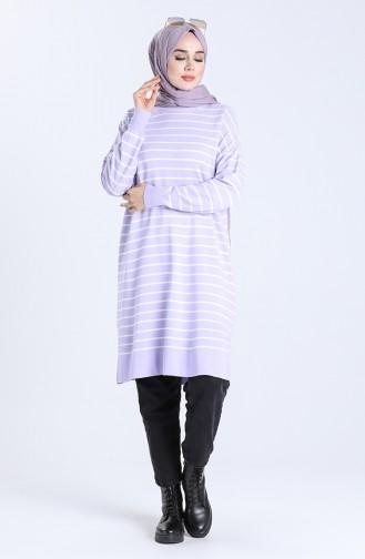 Striped Knitwear Tunic 4260-01 Lilac 4260-01