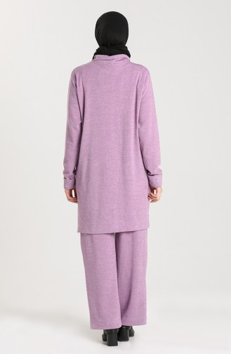 Triko Boğazlı Tunik Pantolon İkili Takım 1146-02 Lila