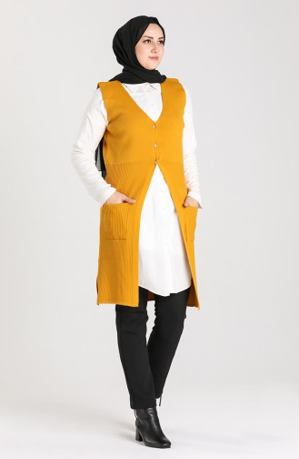Plus Size Thin Knitwear Vest with Pockets 9116-05 Mustard 9116-05