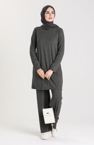 Fitilli Tunik Pantolon İkili Takım 2902-02 Füme