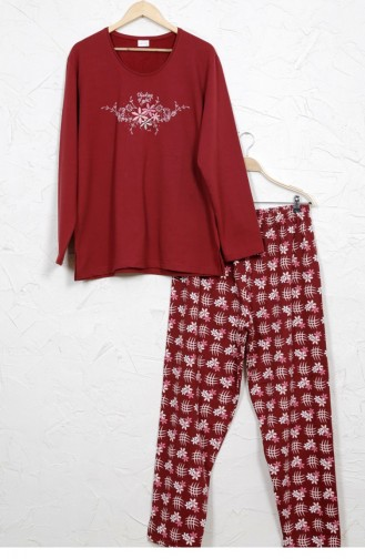 Vienetta Cotton Two Thread Pyjamas 8030594782 Burgundy 8030594782.BORDO