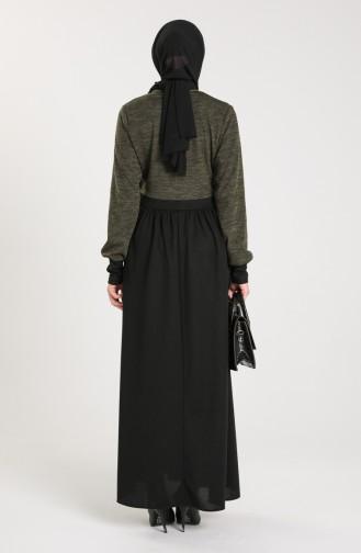 Triko Garnili Elbise 2001-01 Koyu Haki