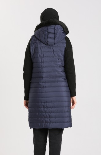 Zippered Quilted Vest 1056-03 Navy Blue 1056-03