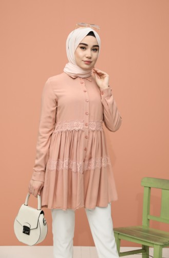 Lace Detailed Tunic 8245-05 Dried Rose 8245-05