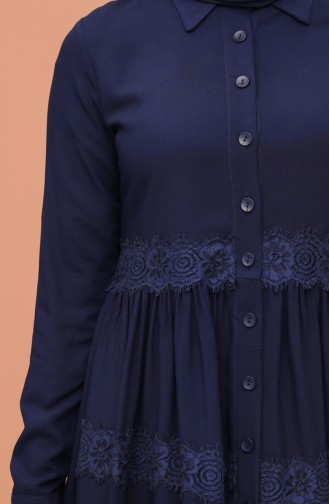 Lace Detailed Tunic 8245-03 Navy Blue 8245-03