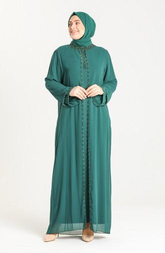 Büyük Beden Boncuk İşlemeli Abiye Elbise 6227-08 Koyu Yeşil