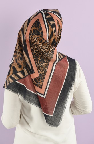 Patterned Flamed Scarf 7833-09 Dark Rose Dried Salmon 7833-09