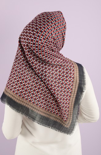 Patterned Flamed Scarf 7834-12 Navy Blue Red 7834-12
