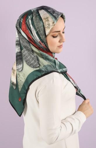 Karaca Patterned Rayon Scarf 90751-10 Emerald Green Black 90751-10