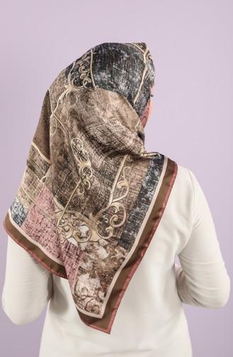 Karaca Patterned Rayon Scarf 90752-04 Rose Dry Brown 90752-04