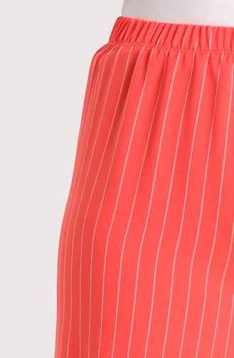 Çizgili Bol Paça Pantolon 9000-02 Nar Çiçeği
