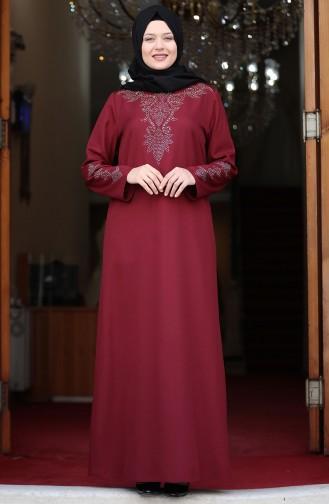Plus Size Stone Print Dress 3309-01 Burgundy 3309-01