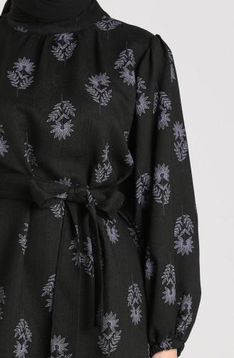 Desenli Kuşaklı Tunik 1156-04 Siyah