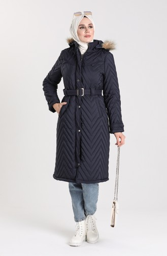 Quilted Coat with Belt 0141-02 Navy Blue 0141-02