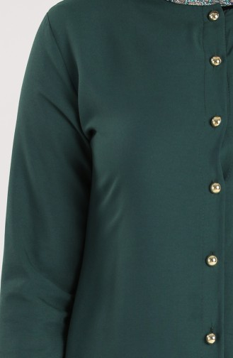 Düğmeli Tunik 1003-01 Zümrüt Yeşili