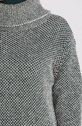 Knitwear Turtleneck Long Sweater 4198-08 Gray Emerald Green 4198-08