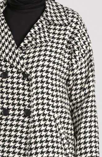 Houndstooth Patterned Buttoned Coat 1165-01 Black white 1165-01