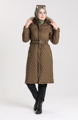 Quilted Coat with Belt 0141-03 Khaki 0141-03