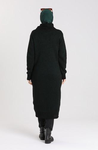 Triko Boğazlı Uzun Kazak 4198-07 Zümrüt Yeşil Siyah