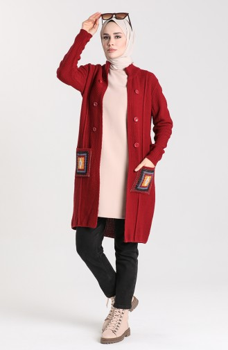 Knitwear Sweater with Pockets 5025-04 Burgundy 5025-04