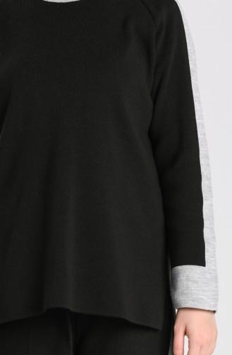 Triko Garnili Tunik Pantolon İkili Takım 4339-08 Siyah