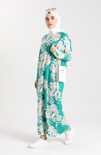 Desenli Elbise 8184-01 Yeşil