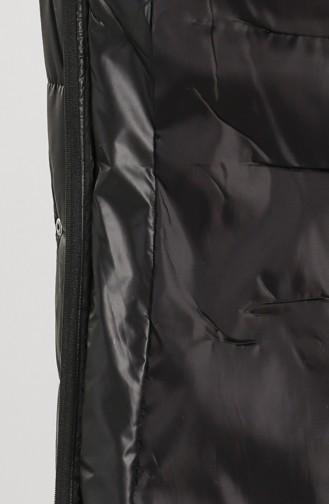 Kapüşonlu Kapitone Mont 7070-01 Siyah