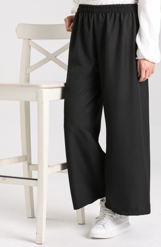 Beli Lastikli Bol Paça Pantolon 4012-01 Siyah