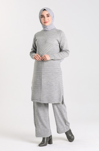 Knitwear Tunic Trousers Double Suit 12208-02 Gray 12208-02