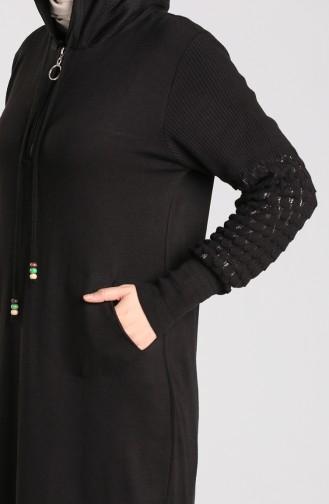 Kapüşonlu Spor Elbise 2343-06 Siyah