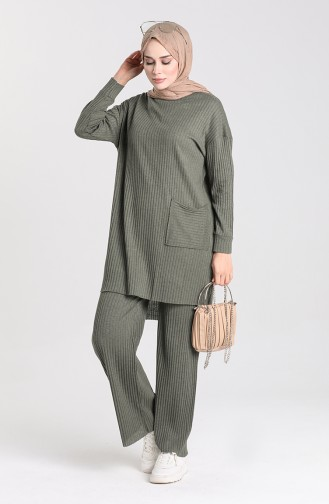 Asymmetrical Pocket Tunic Trousers Double Suit 7731-02 Khaki 7731-02
