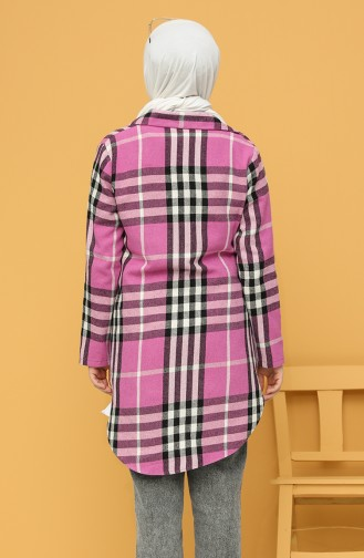 Plaid Buttoned Tunic 3189-01 Dried Rose 3189-01